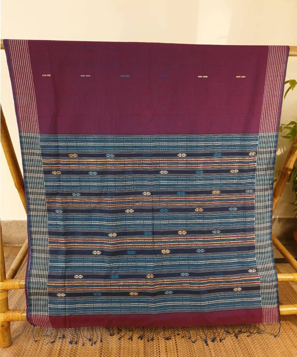 Magenta maroon assam handloom cotton and ghiccha saree