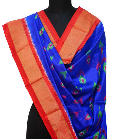 Blue Red Handloom Ikkat Silk Dupatta