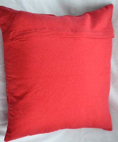 Red lambani hand embroidery cotton cushion cover