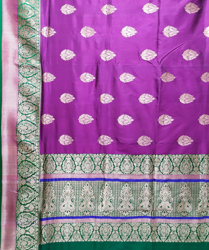 Banarasi purple handwoven katan silk saree