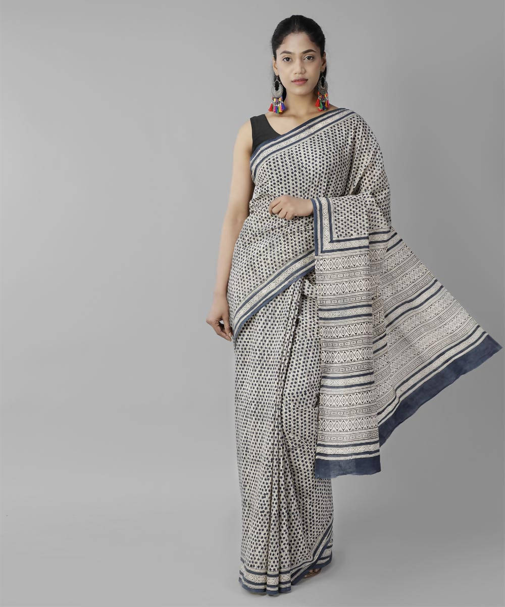 White black bagru handblock printed cotton saree