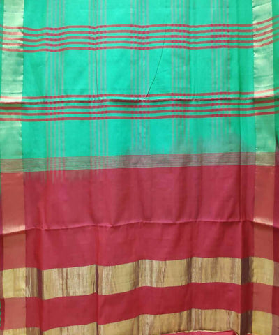 Forest green and red Handwoven Venkatagiri Cotton silk saree