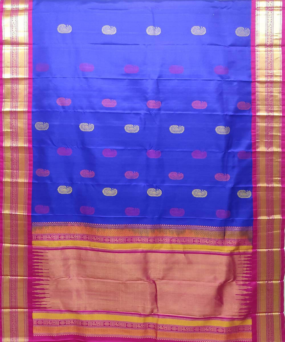 blue Pink Handloom kanchipuram Silk Saree