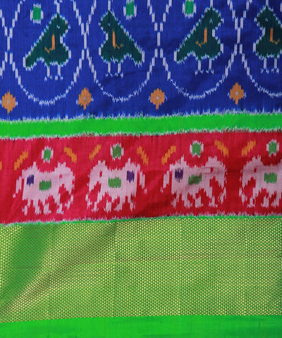 Royal Blue Green Handloom Rajkot Ikat Silk Saree