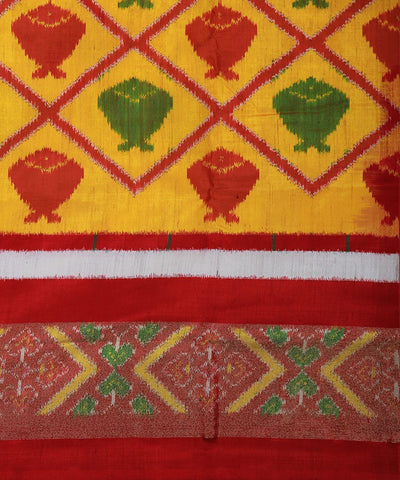 Handwoven Ikat Rajkot Silk Saree In Yellow Color