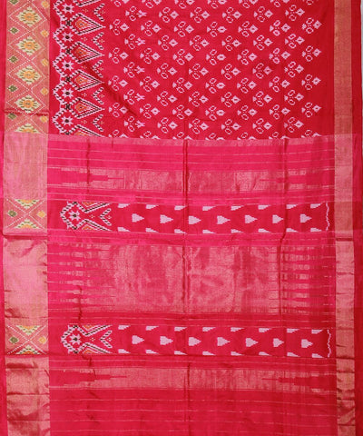 Handwoven Ikat Rajkot Silk Saree In Red Pink Color