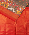 Grey Red Handloom Ikat Rajkot Silk Saree