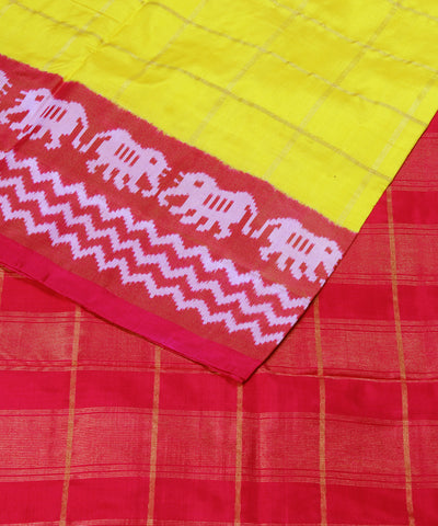 Yellow Checks Handloom Ikat Rajkot Silk Saree