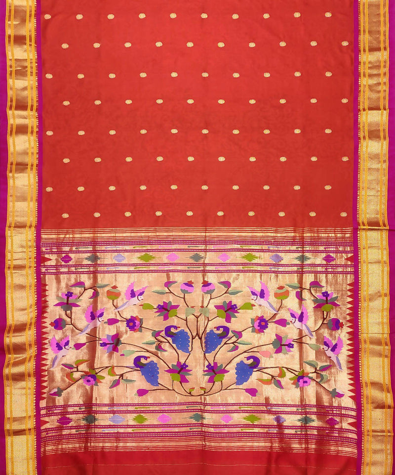 Red Orange Handloom Paithani Silk Saree