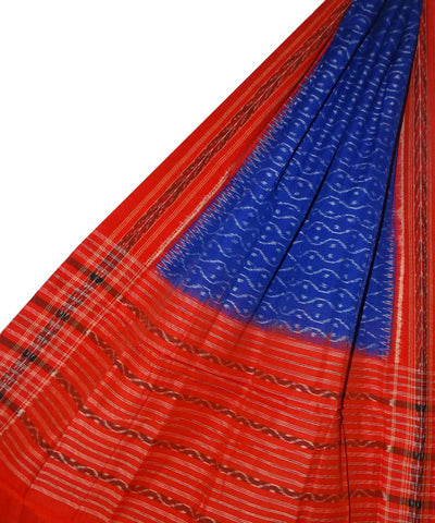 Blue Red Sambalpuri Handwoven Cotton Dupatta