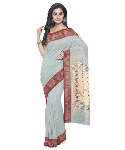 Pale Blue Handloom Paithani Cotton Saree
