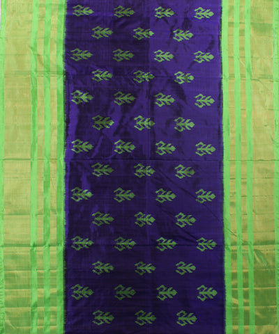 Handloom Ikat Rajkot Silk Saree In Dark Navy blue and Green Shade