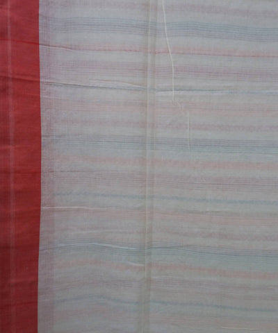 Bengal Beige Red Stripes Handloom Cotton Saree
