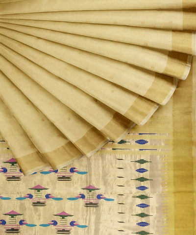 Light Yellow Handloom Paithani Cotton Saree