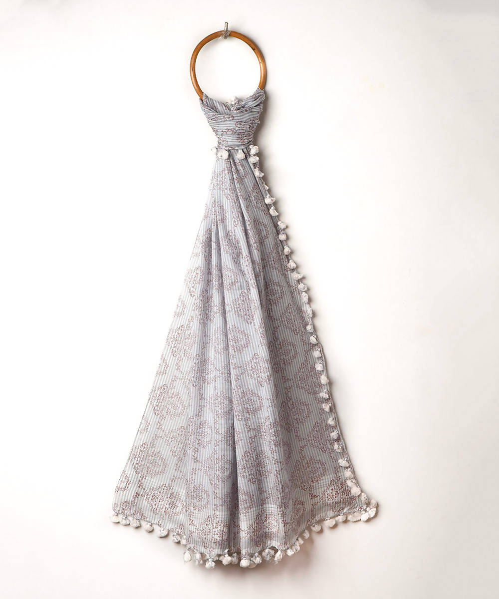 Grey handwoven cotton silk printed stole