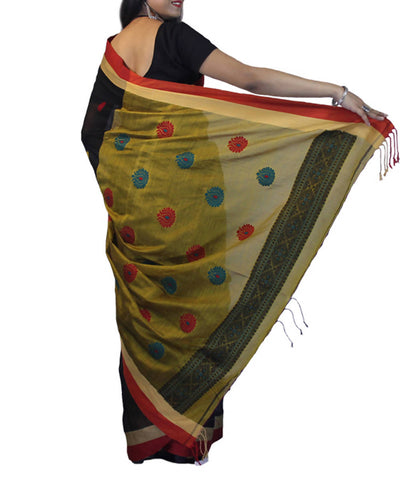 Black with red and gold border handwoven bengal cotton saree