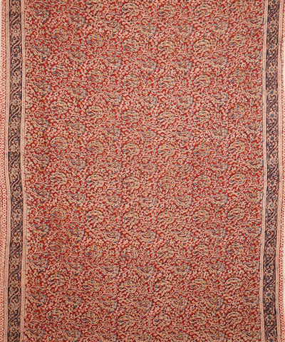 Hand Block Print Brick Red Kalamkari Saree