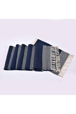 Blue and White Handwoven Cotton Rug Table Mat Set of 6