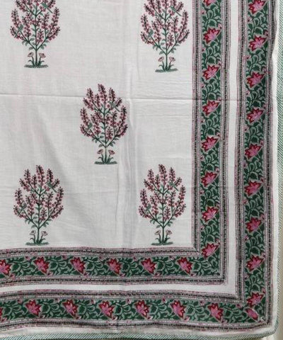 White with Floral Handblock Printed Cotton Double Dohar