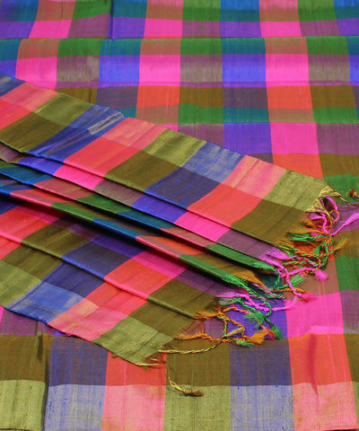 Dark Mauve Checks Khadi Handloom Silk Saree