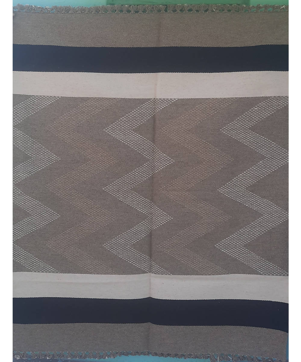 Grey zig zag wave striped handwoven wool and cotton durrie