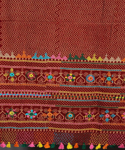Red Hand Embroidery Printed Cotton Dupatta