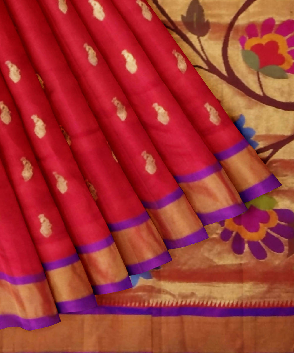Dark Red Handloom Paithani Silk Saree
