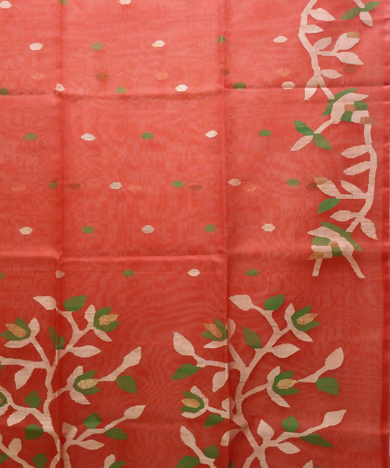 Handwoven bengal red jamdani silk saree