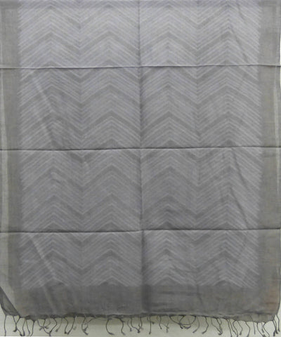 Grey Natural Dyed Handwoven Cotton Shibori  Stole