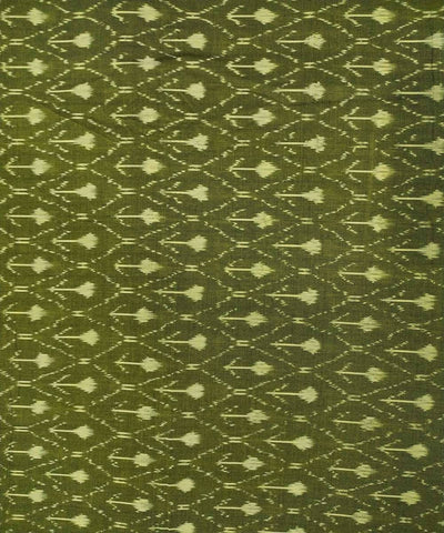 Olive Cotton Handwoven Pochampally Ikat Fabric