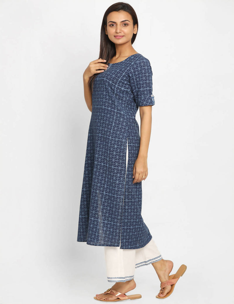Handloom Cotton navy blue Kurta