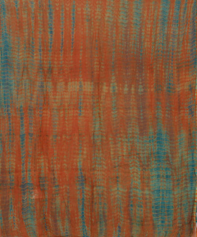 Shibori Orange and Blue Cotton Stole