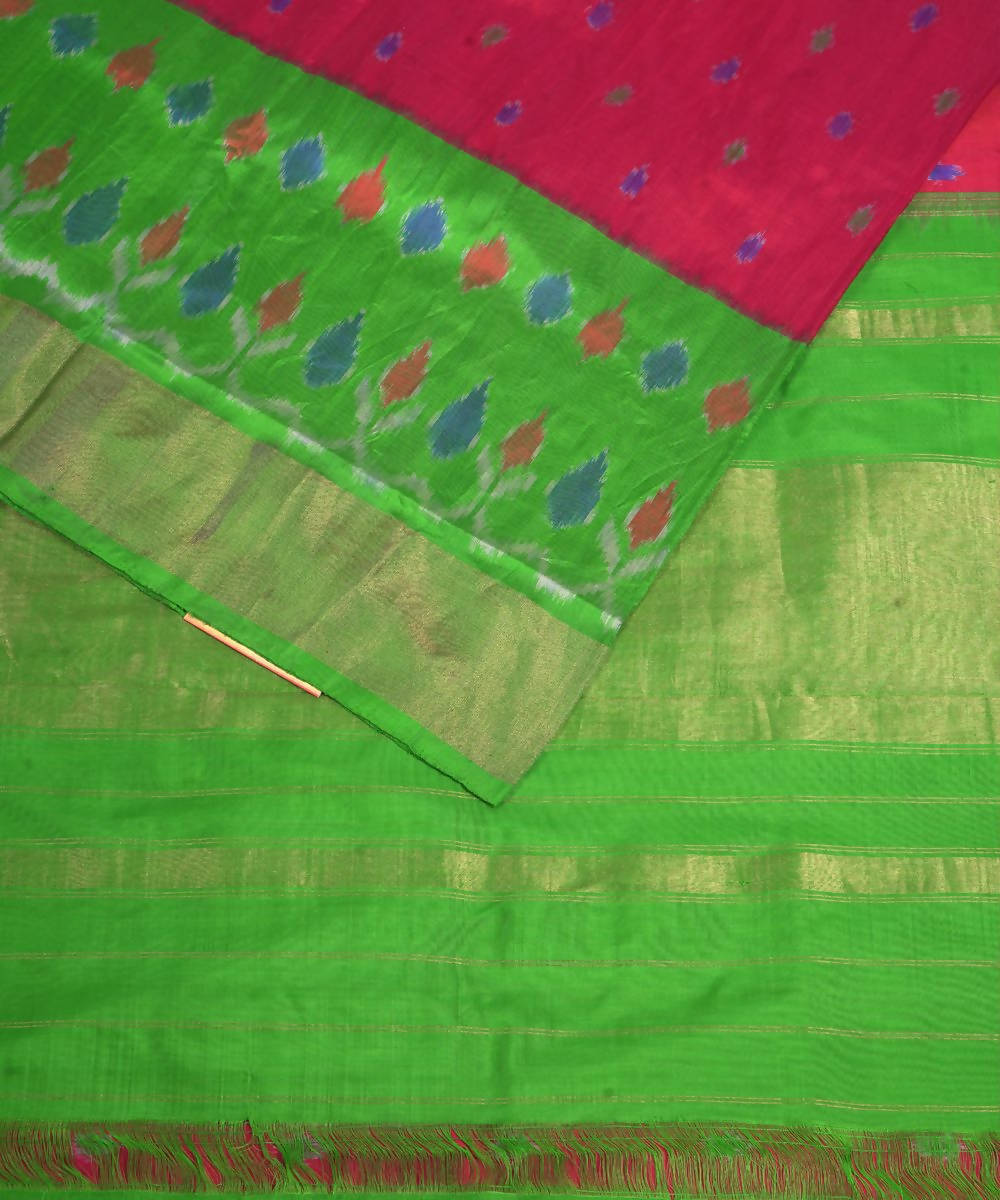 Pink Green Handloom Pochampally Silk Saree