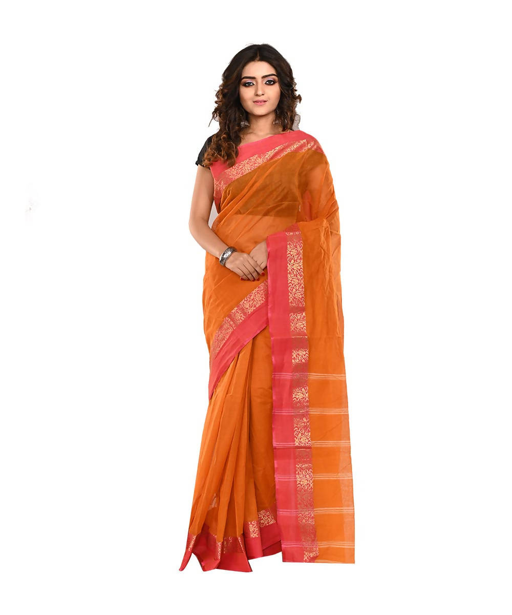 Bengal Orange Handloom Cotton Saree