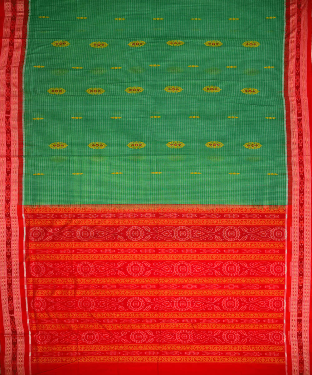 Green handloom bomkai cotton saree