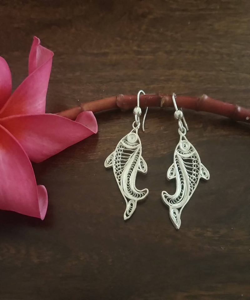 silver filigree handcrafted fish earrings