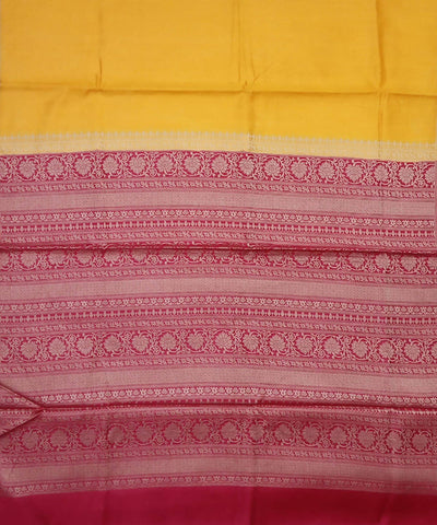 Yellow and Red Banarasi Handloom Silk Saree