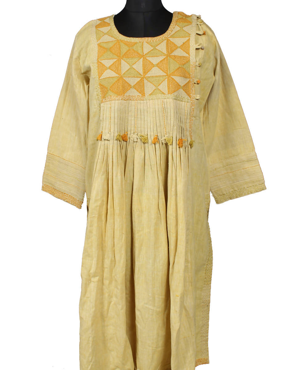 Light Yellow Handspun Handwoven Lambani Embroidery Cotton Kurta