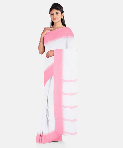 Biswa bangla handwoven white mercerised cotton saree