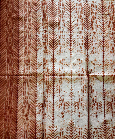 Shibori white Brown Chanderi Kurta Fabric