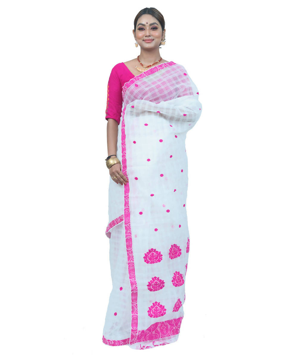 White and pink handwoven assam raw silk saree