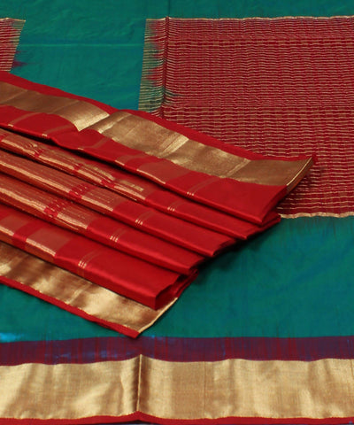 Blue Red Khadi Handloom Silk Saree