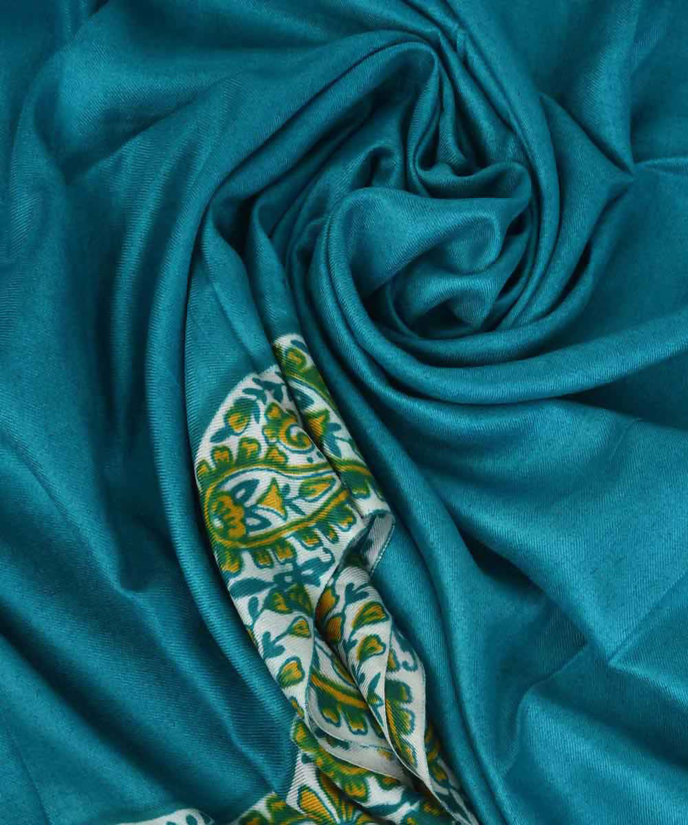 Blue green handblock print eri silk kurta material and dupatta set