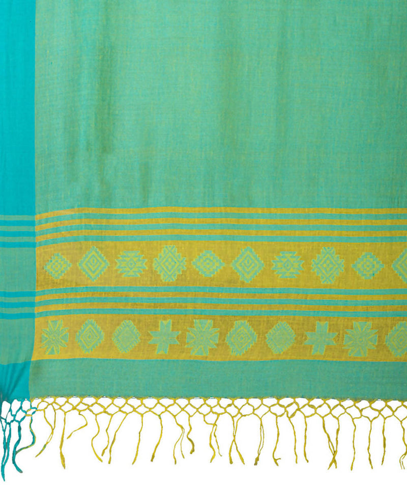 Biswa bangla handwoven yellow Green tangail cotton saree
