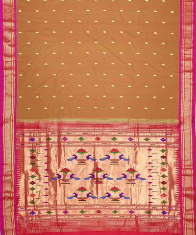 Olive Brown Handloom Paithani Silk Saree