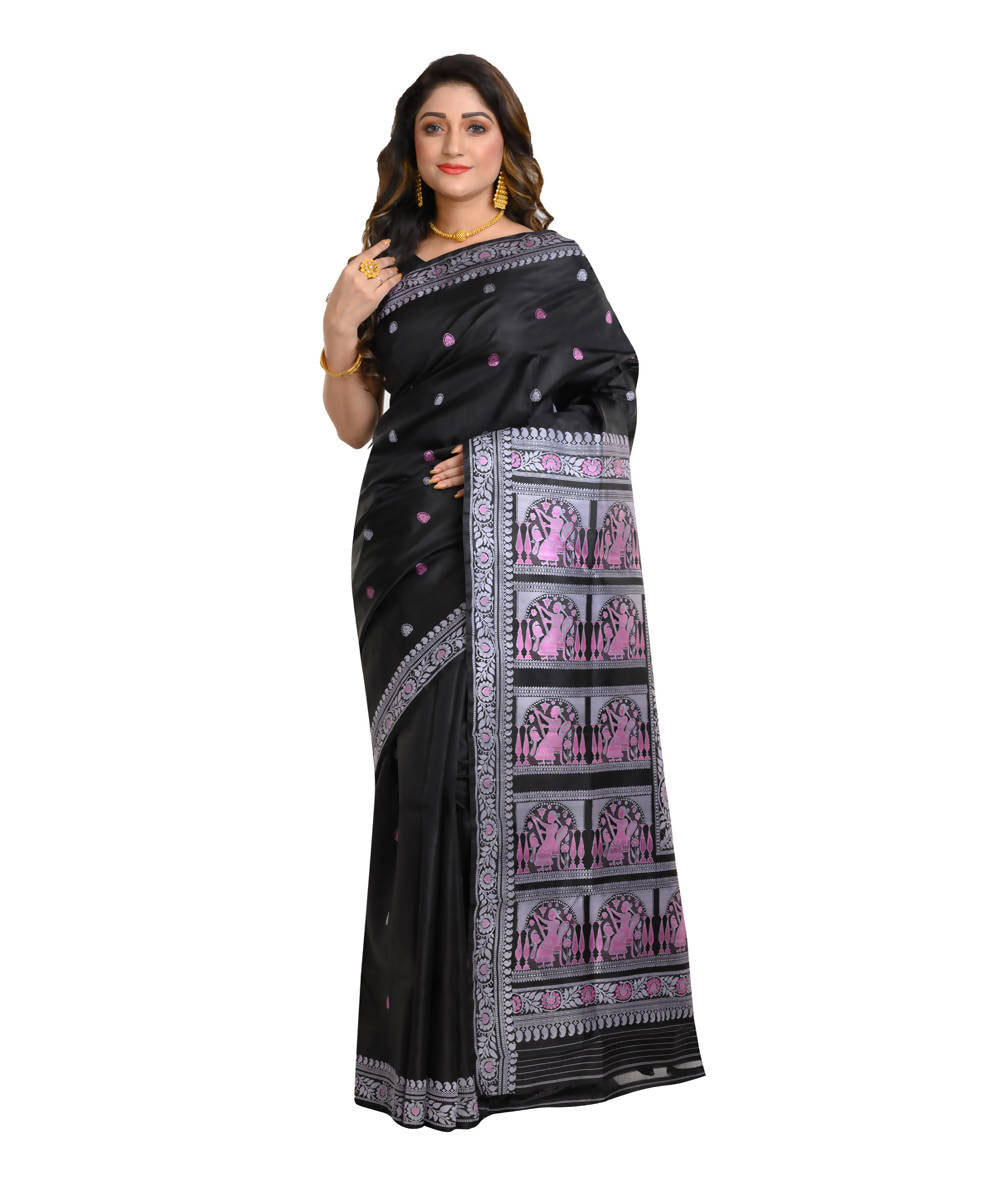 Black and blue handwoven baluchari mulberry silk saree