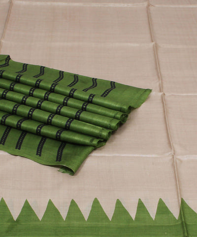 Beige and Green Handloom Tussar Silk Saree