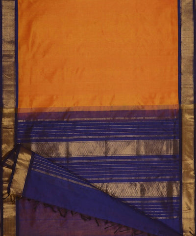 Mustard and navy blue kanjivaram silk cotton saree