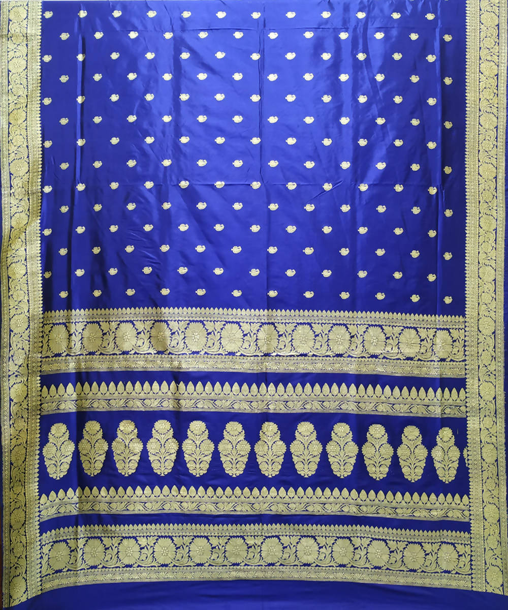 Navy blue handloom katan silk banarasi saree