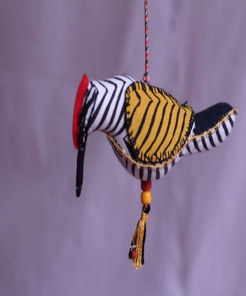 Maratha woodpecker bird handmade cotton embroidery wall hanging